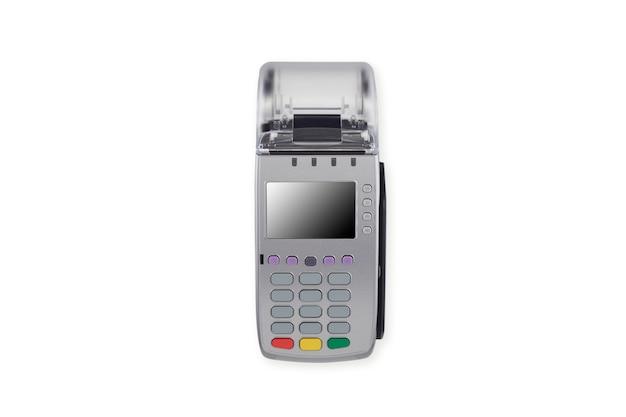 Czytnik kart kredytowych na białym tle
