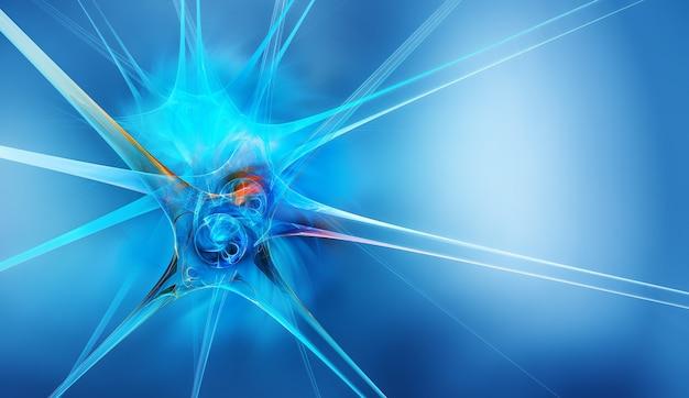 D abstrakcyjny neuron na niebieskim tle jako koncepcyjne abstrakcyjne tło medyczne