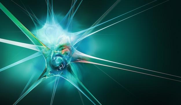 D abstrakcyjny neuron na zielonym tle jako koncepcyjne abstrakcyjne tło medyczne