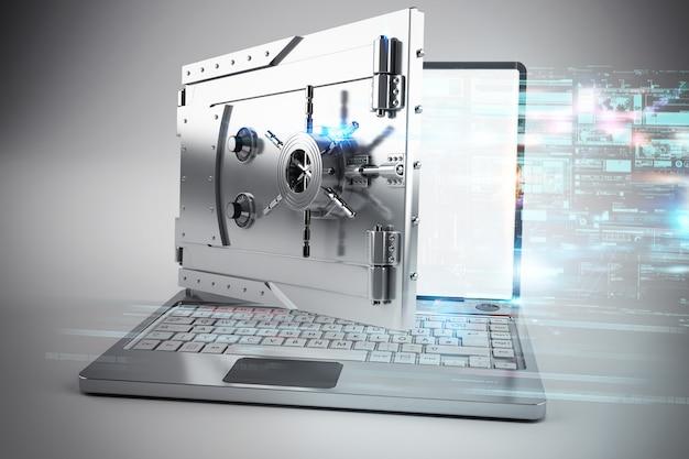 D ilustracja bezpiecznej bankowości internetowej