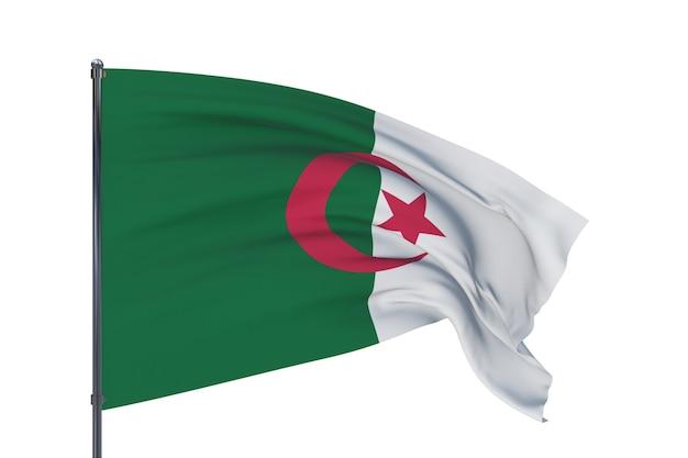 D ilustracja macha flagami światowej flagi algierii na białym tle
