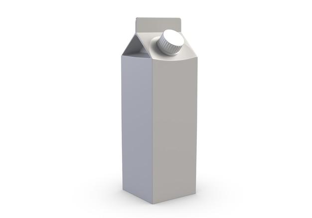 D ilustracja pudełka soku na białym tle