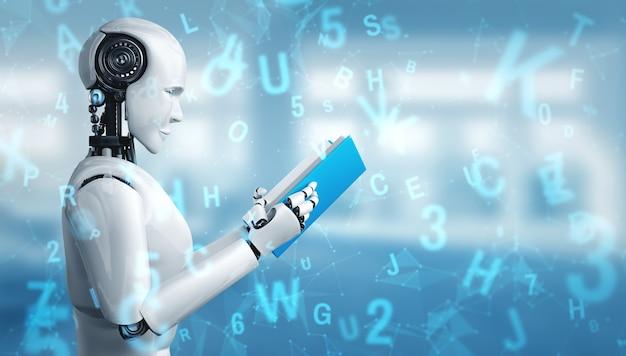 D ilustracja robota humanoidalnego czytania książki
