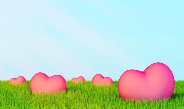 D ilustracja zielona trawa w koncepcji kształtu serca środowiska i zrównoważonego rozwoju