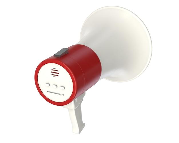 D render elektrycznego megafonu na białym tle