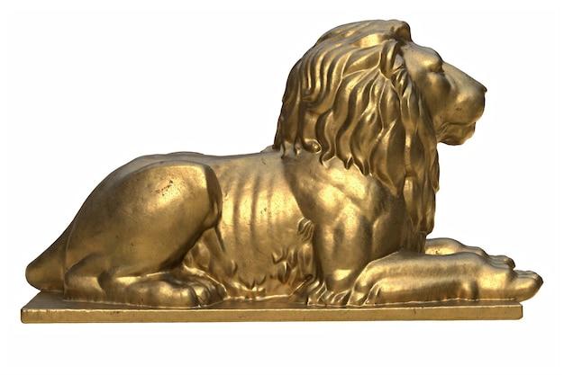 D render leżącego lwa złota rzeźba na białym tle