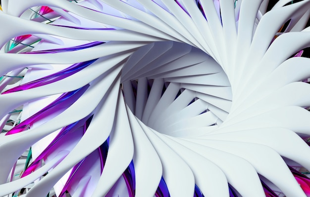 D render sztuki abstrakcyjnej z częścią surrealistycznego kwiatu