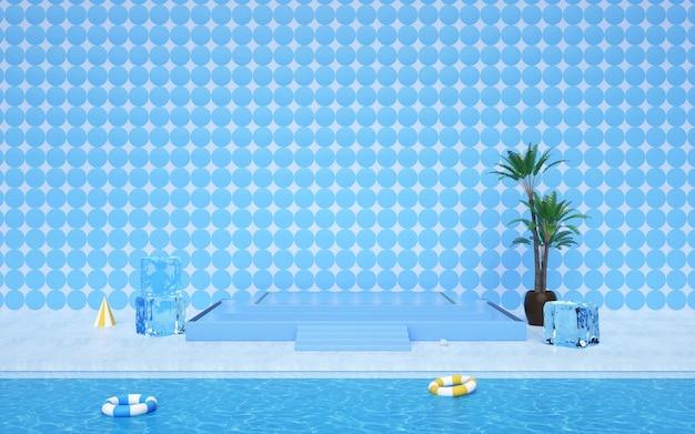 D renderowania abstrakcyjne tło geometryczne z letnim podium