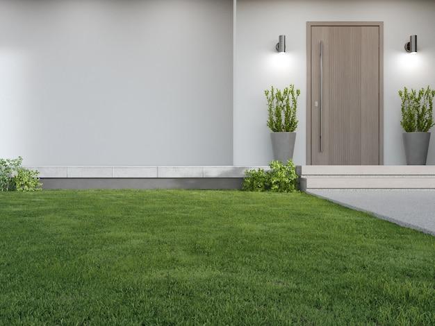 D renderowania zielonego trawnika w nowoczesnym domu