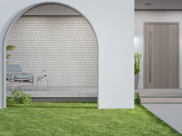 D renderowanie bramy łukowej na trawniku zielonym w nowoczesnym domu