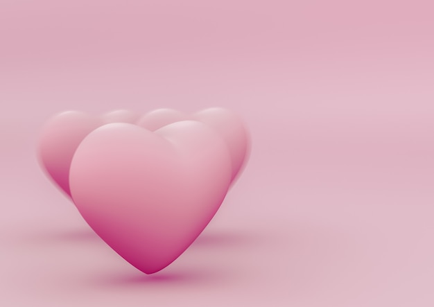 D serca na czystym różowym szablonie tła