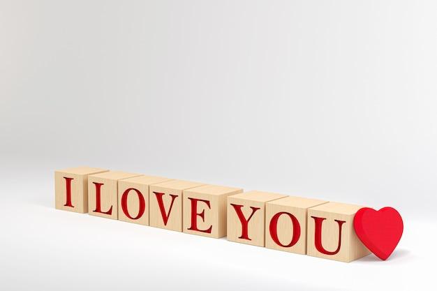 D wood cube kocham cię w kształcie serca