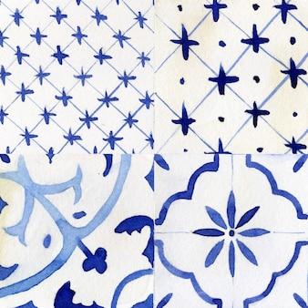 Dachówka bez szwu deseń akwarela ręcznie rysowane ilustracji rastrowych