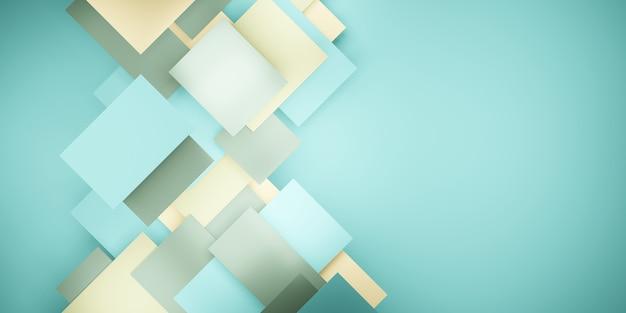 Dachówka tło pastelowo zielona geometryczna hierarchia abstrakcyjna kwadratowa ilustracja 3d