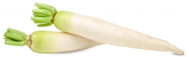 Daikon rzodkiew odizolowywająca na białej ścinek ścieżce