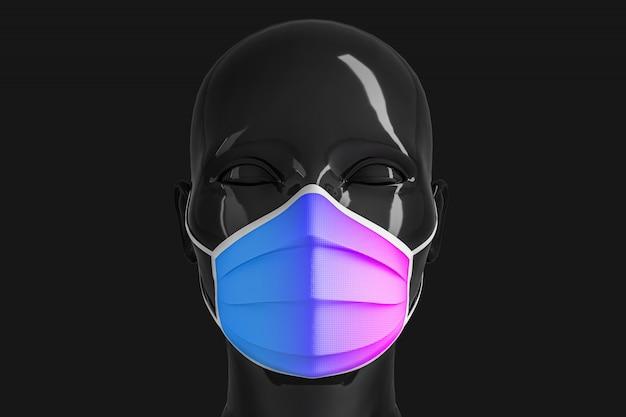 Damska błyszcząca, modna czarna głowa w medycznej masce do zapobiegania koronawirusom