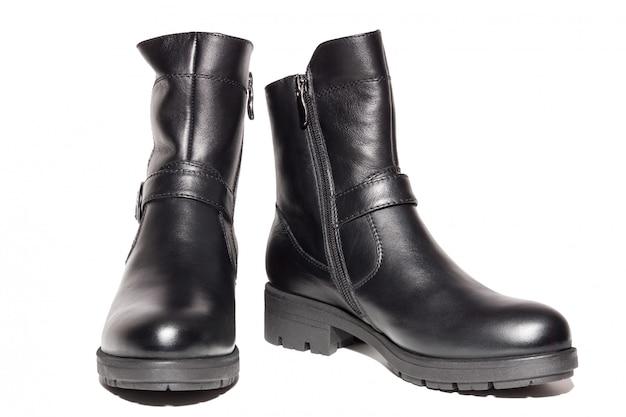 Damskie skórzane buty jesienne