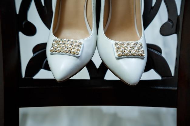 Damskie skórzane buty ślubne