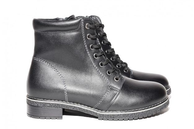 Damskie skórzane buty zimowe