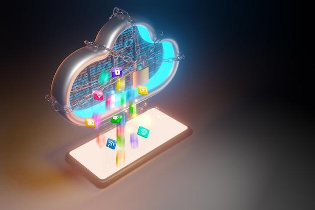 Dane do przechowywania w chmurze. koncepcja technologii przetwarzania w chmurze, renderowanie 3d