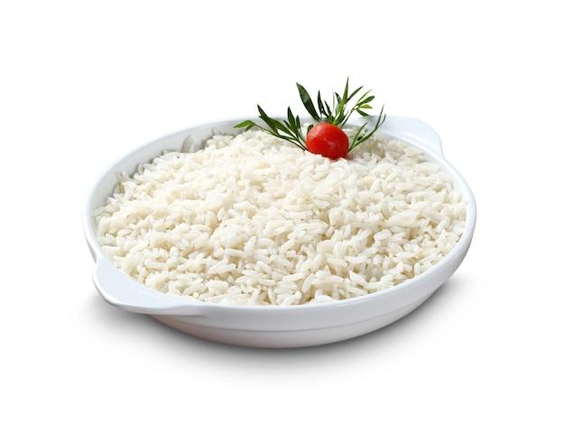 Danie z ryżu na białym tle.