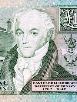 Daniel de lisle brock portret z pieniędzy guernsey