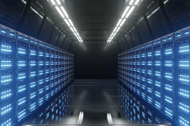 Dark server room network z niebieskimi światłami.