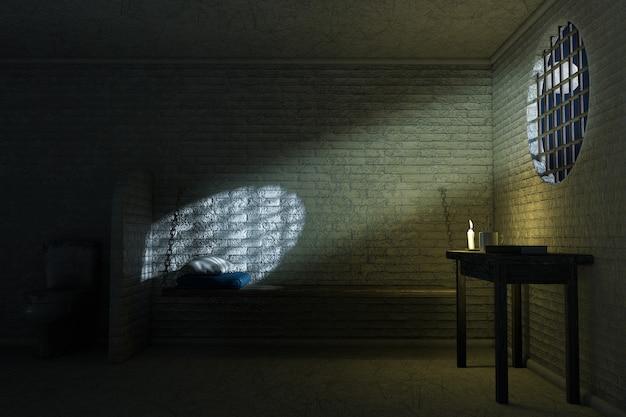 Darl stare wnętrze celi więziennej dla jednej osoby z łóżkiem, stołem, toaletą skrajne zbliżenie. renderowanie 3d