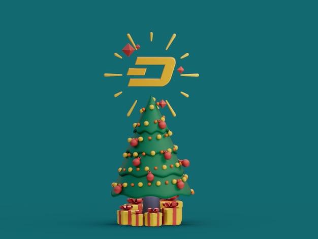 Dash choinka ozdobna świąteczna kryptowaluta ilustracja 3d render