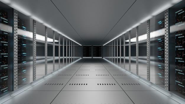 Data center wiele serwerów komputerowych w szafach