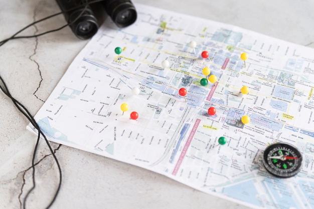Defocused map with pinpoints