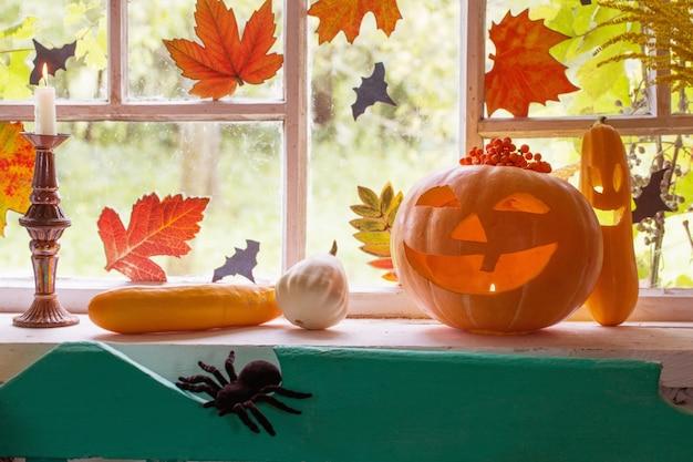 Dekoracja halloween na oknie
