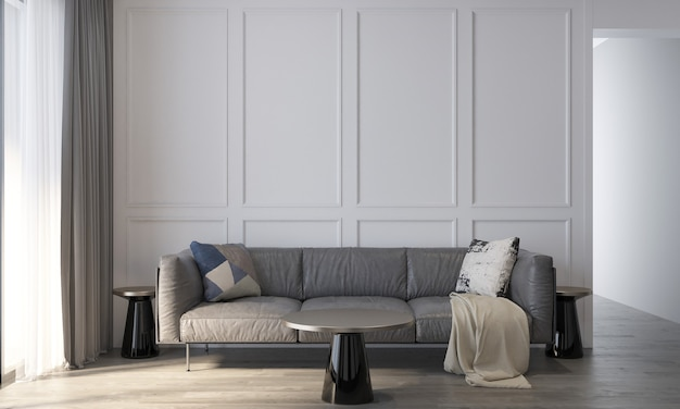 Dekoracja i przytulna makieta wnętrza salonu i pusty wzór tła ściany renderowanie 3d