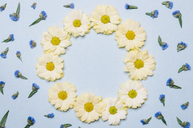 Dekoracja kwiatów na niebieskim tle