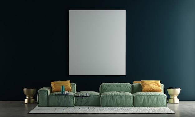 Dekoracja makiety wystroju wnętrz i nowoczesnego przytulnego salonu z pustą płócienną ramą na zielonym tle tekstury ściany