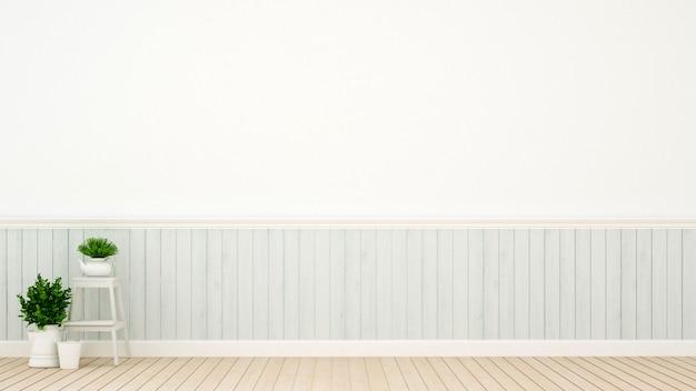 Dekoracja roślin i ścian w pustym pokoju