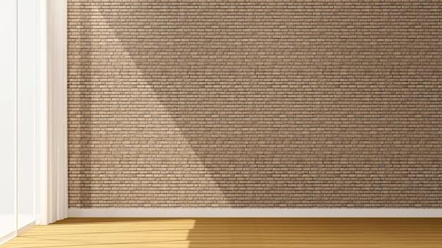 Dekoracja ścienna z cegły w pustym pokoju do mieszkania