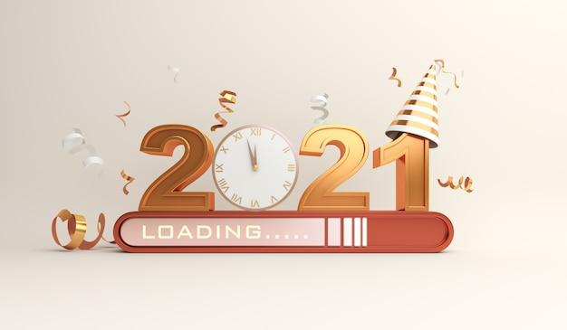 Dekoracja szczęśliwego nowego roku 2021 z paskiem postępu ładowania, konfetti, zegarem