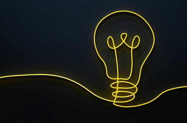 Dekoracja w kształcie żółtej żarówki wykonana ze światła ledowego