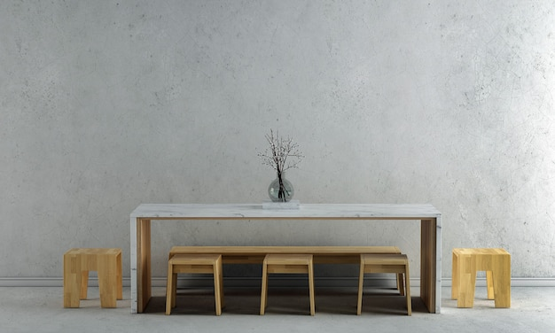 Dekoracja wnętrz i makiety mebli jadalni i pustej betonowej ściany tekstury tła renderowania 3d