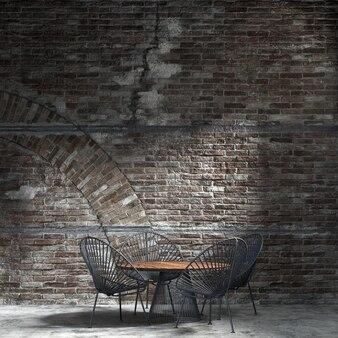Dekoracja wnętrz i makiety mebli jadalnia i tło wzór ceglanego muru