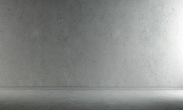 Dekoracja wnętrz i makiety mebli pustego salonu i betonowej ściany tekstury tła renderowania 3d