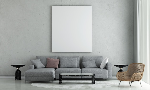 Dekoracja wnętrz i makiety mebli salonu mpdern i pustej ramy płótna na betonowej ścianie tekstury tła renderowania 3d