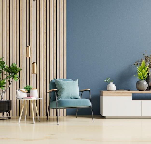 Dekoracja wnętrza salonu z na pustej ciemnoniebieskiej ścianie, renderowanie 3d