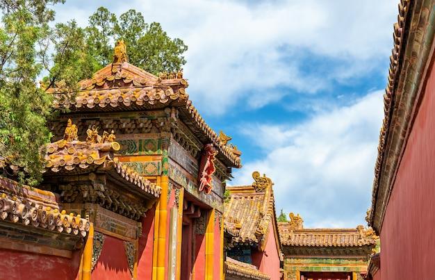 Dekoracje dachowe w zakazanym mieście, pekin - chiny