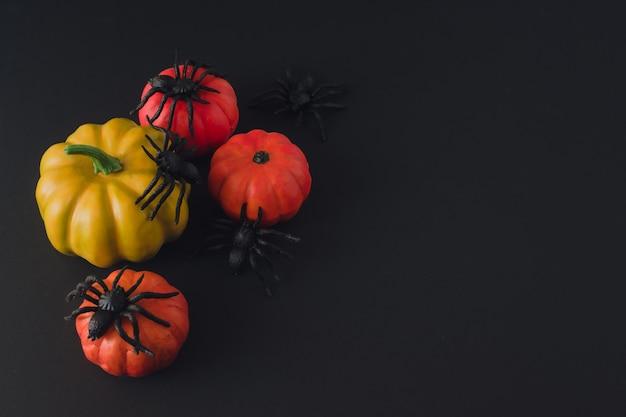 Dekoracje halloween na czarnym tle. ozdobne dynie pomarańczowe i pająki. koncepcja halloween. skopiuj miejsce.