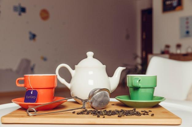 Dekoracje herbaty dwie filiżanki