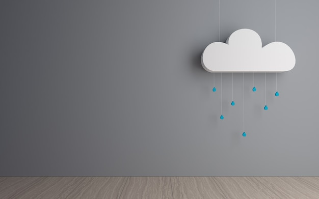 Dekoracyjna chmura z kroplami deszczu w ciemnym pokoju