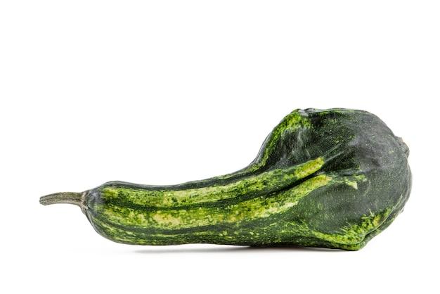 Dekoracyjna długa dynia w kolorze zielonym izolowana na białym tle