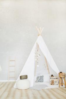 Dekoracyjna przytulna chatka w stylu boho z wystrojem. minimalny projekt wnętrza domu